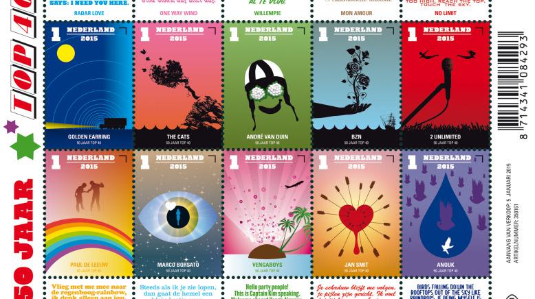 50 jaar top 40 postzegels Speciale uitgave van postzegel 50 jaar Top 40   Paul de Leeuw 50 jaar top 40 postzegels